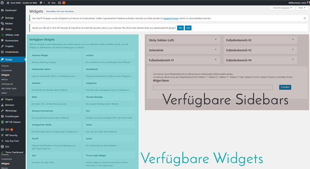 Sidebars & Widgets im Dashboard